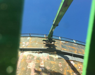 "Cleaning the exterior of Oil Tanks in Poolbeg for ""Alder and Allen"